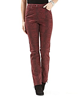 Printed Straight Leg Jeans 27in