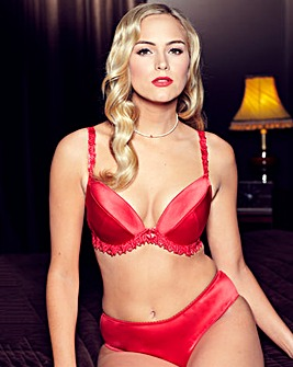 Splendour Red Satin Padded Plunge Bra