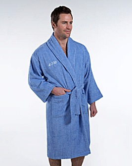 Personalised Gents Bath Robe Pale Blue