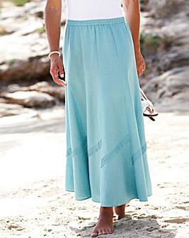 Linen Blend Skirt Length 33in