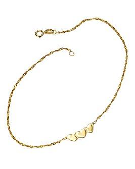 9 Carat Gold Heart Anklet