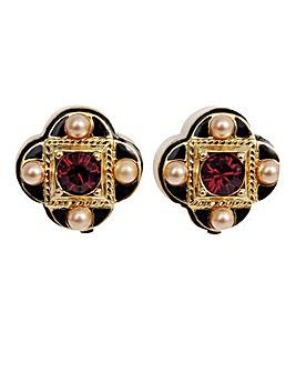 Pugin Inspired Style Clip Earrings