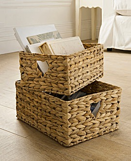 Water Hyacinth Set 2 Heart Open Baskets