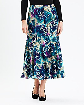 Print Skirt With Satin Trim Length 32in