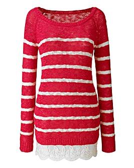 Stripe Knit 2 in 1 Jumper With Lace Hem
