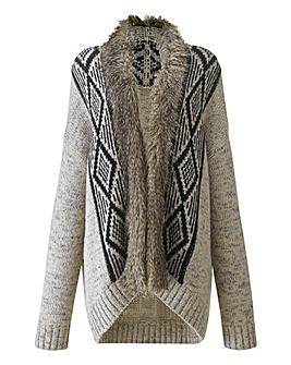Fairisle Knit Cardigan With Fur Trim