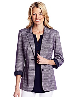 Patterned Ponte Tailored Jacket