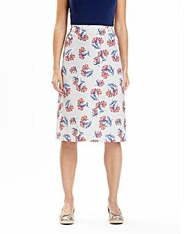 Print Linen Mix A-Line Skirt 25in