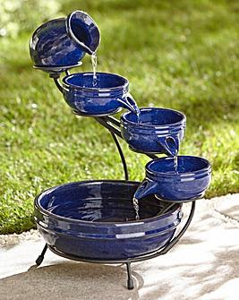 Decorative Solar Ceramic Cascade Blue
