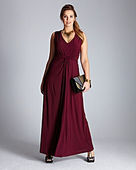 Pleat Knot Detail Maxi Dress