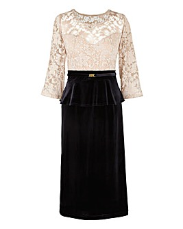 Joanna Hope Lace Trim Velour Dress