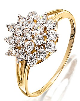 9ct Gold & Cubic Zirconia Cluster Ring
