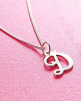 Silver Initial Pendant 18in Chain