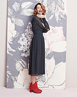 Shirred Waist Split Sleeve Dress