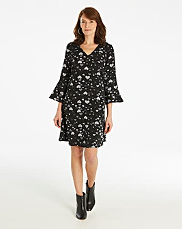 Flared Long Sleeve Dress
