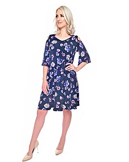 Grace print dress with cold shoulder