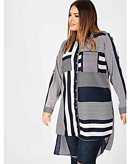 Koko navy and ivory stripe panel shirt
