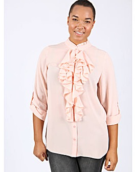 Lovedrobe GB pink frill front blouse
