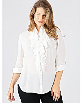 Lovedrobe GB ivory frill front blouse