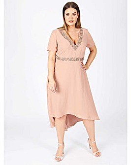 Lovedrobe luxe mauve dipped hem dress