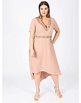 Lovedrobe luxe mauve dipped hem dress