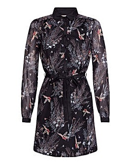 Yumi Curves Bird Tree Shirt Dress