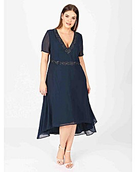 Lovedrobe luxe navy dipped hem dress