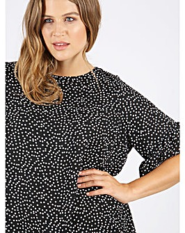 Koko Polka Dot Print Ruffle Sleeve Top