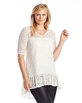 Lace Blouse with Dipped Hem