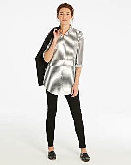 Ivory/Black Oversized Striped Shirt