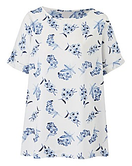 Ivory Print Boxy Top With Curved Hemline
