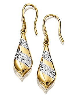 Silver & Yellow Rhodium Drop Earrings