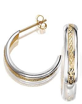 9ct Gold Half Hoop Two Tone Earrings