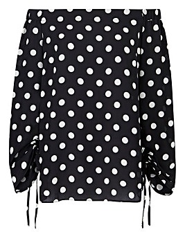 Mono Spot Ruched Sleeve Bardot Top