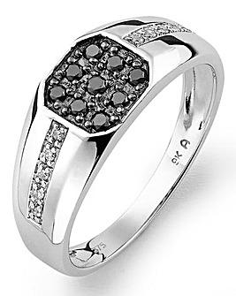 Gents 9ct White Gold & Diamond Ring