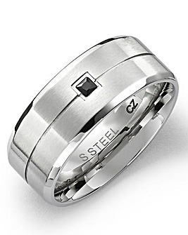 Gents Stainless Steel & Black CZ Ring