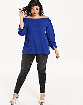 Cobalt Blue Ruched Sleeve Bardot Top