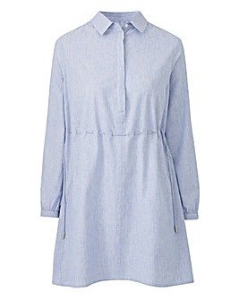 Pale Blue Oversized Shirt With Draw Tie