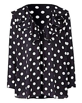 Mono Spot Frill Tie Kimono Top