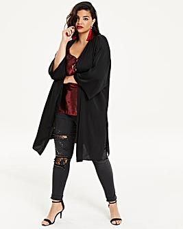 Black Longline Distressed Satin Kimono