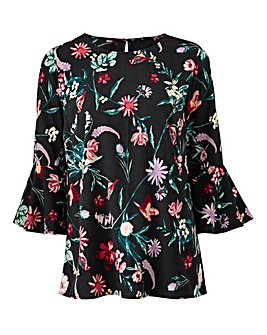 Petite BlackFloral 3/4 Fluted Slv Blouse