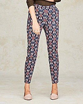 Print Cotton Sateen Tailored Trouser Reg