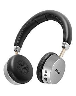 AKAI Bluetooth Headphones Silver