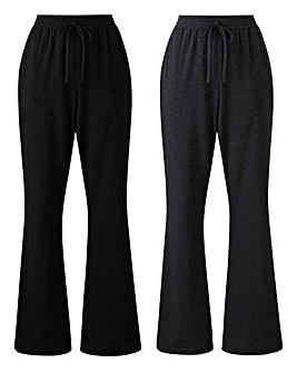Pk2 Jersey Bootcut Trousers Long