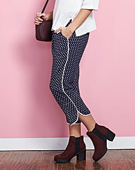 Curved Split Hem Cropped Trousers Reg