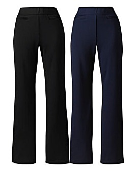 Pack of 2 Straight Leg Trousers Long