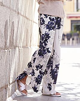 Floral Print Curve Split Hem Trouser Lng