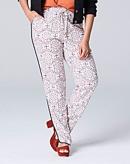 Printed Curved Hem Tipped Trouser Long