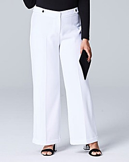 Textured Wide Leg Trousers Long