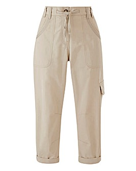 Laundered Cropped Cargo Trousers